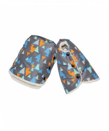 Муфты-варежки «Треугольники на сером»